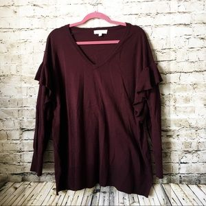 Vince Camuto Maroon Ruffle Sleeve Sweater Plus 2X